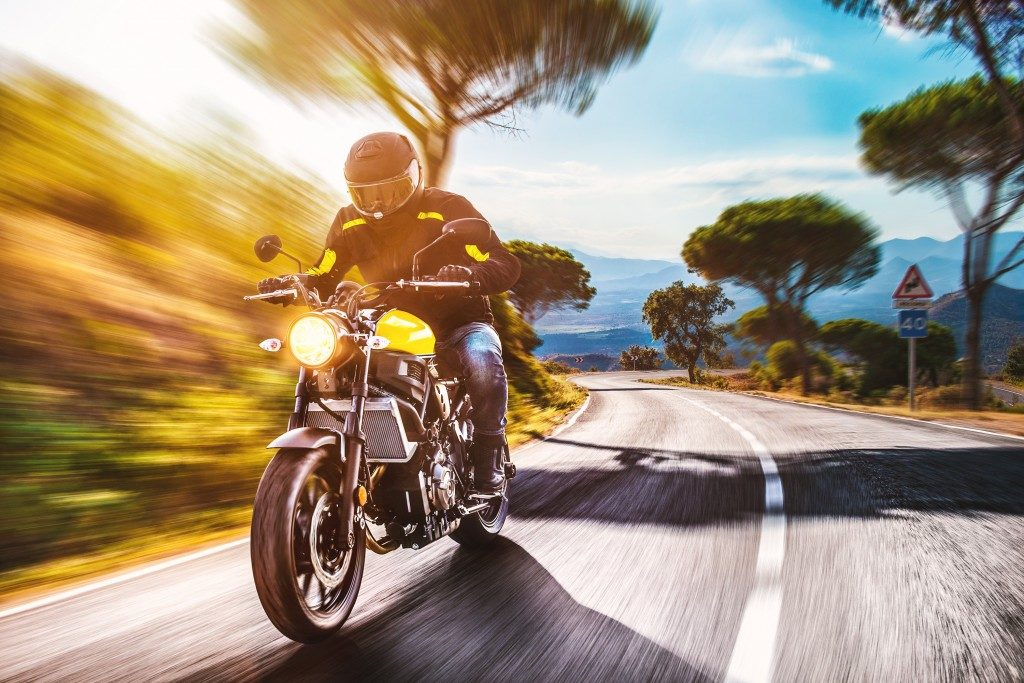 riding motorbike on the road