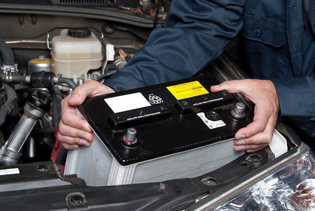 Placing battery in car