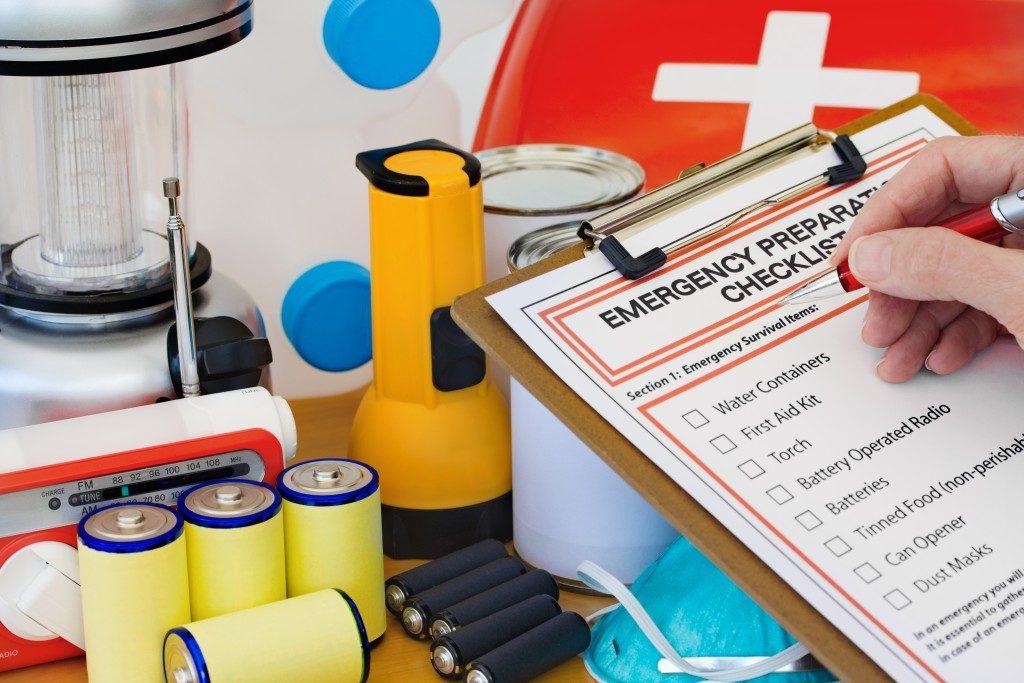emergency kit being prepared