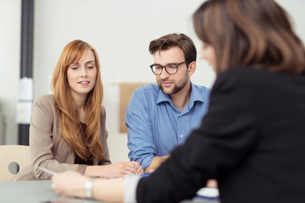 insurance agent talking to client