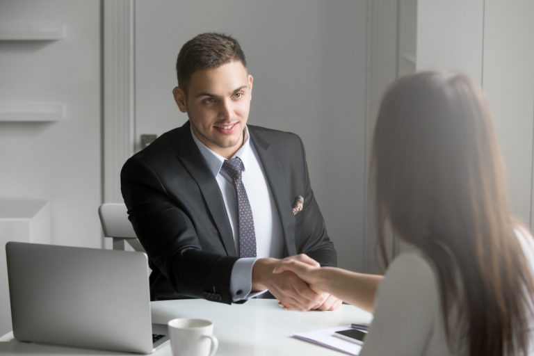 woman getting hired